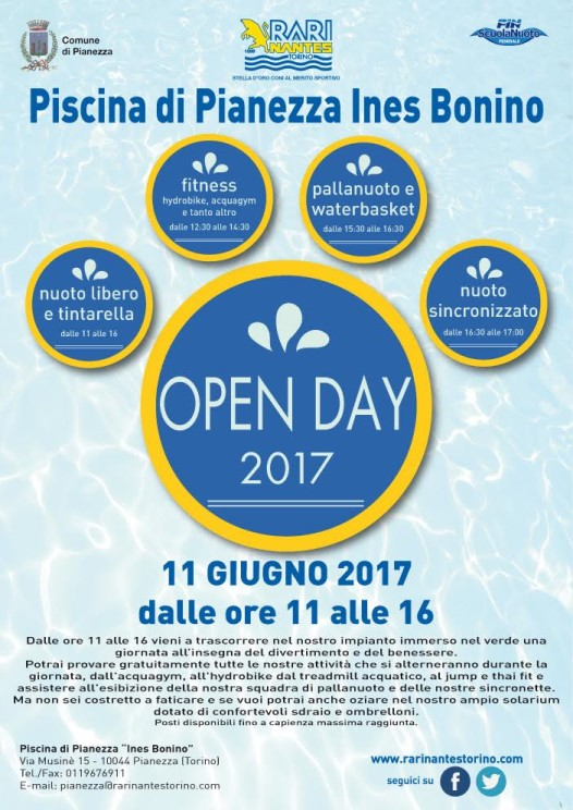Pianezza, l'estate inizia con un open day GRATUITO